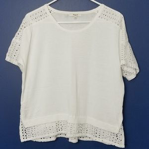 Madewell Knit and Lace Short Sleeve Top
